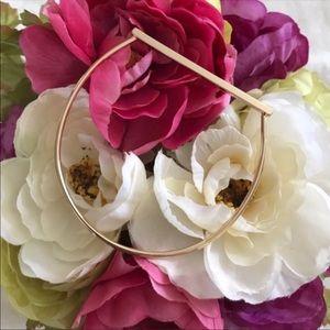 Gold 14k plated bar bangle horseshoe D bracelet